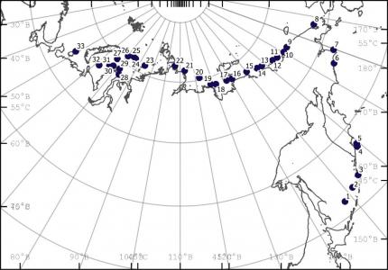 Карта-схема положения океанографических станций в августе-октябре 2020 г.