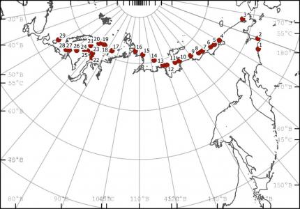 Карта-схема положения станций отбора проб на загрязнение микропластиком  в августе-октябре 2020 г.
